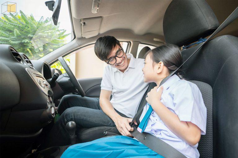 ขับรถไปส่งลูกที่โรงเรียน