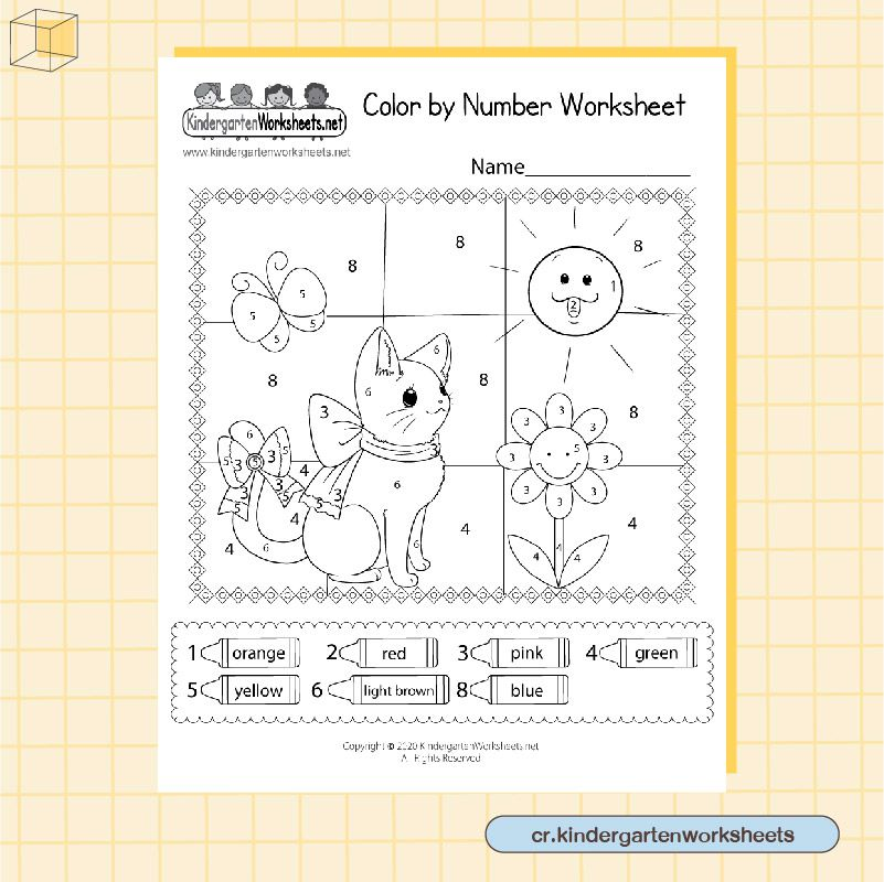 ภาพวาด ระบายสีการ์ตูน แบบ Color by Number Worksheet